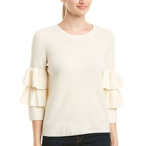 J. McLaughlin cream wool ruffle sleeve sweater